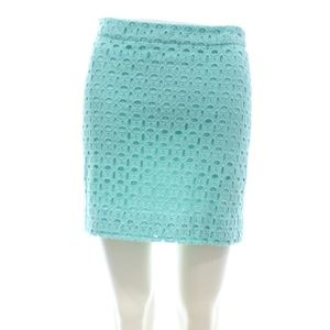 J.CREW TIFFANY BLUE EYELET MINI SKIRT SIZE 6